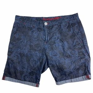 A Fish Named Fred cuffed graphic shorts - blue
